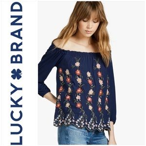 NWT Lucky Brand Embroidered Off the Shoulder Top